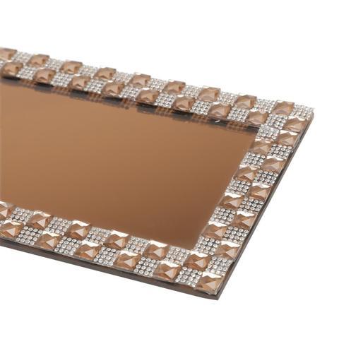 Imagem de Bandeja Retangular Com Espelho 28X13Cm Dourada Prestige