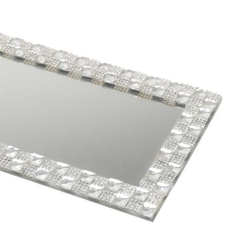Imagem de Bandeja Retangular Com Espelho 28X13Cm Vidro Prata Prestige