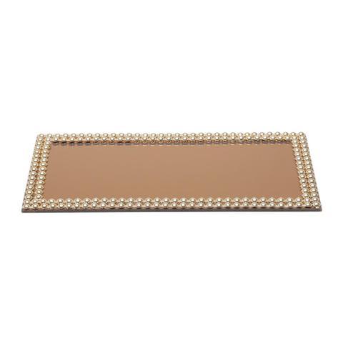 Imagem de Bandeja Retangular Com Espelho 32X16Cm Hills Dourada Prestige