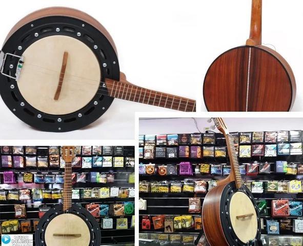 Imagem de Banjo Dember Eletroacústico Natural Db01nt Kit Com Capa Em Encordoamento