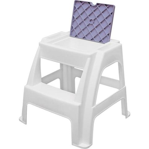 Imagem de Banqueta plastica com escada e compartimento janga branca