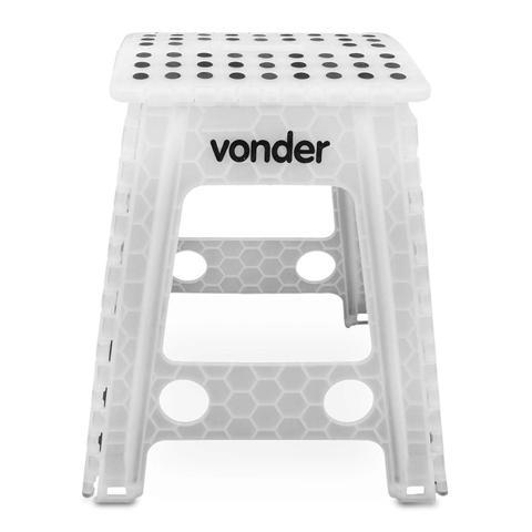 Imagem de Banqueta Plástica Dobrável Multiuso Vonder Universal 150kg 450mm Branca com Alça em Plástico ABS