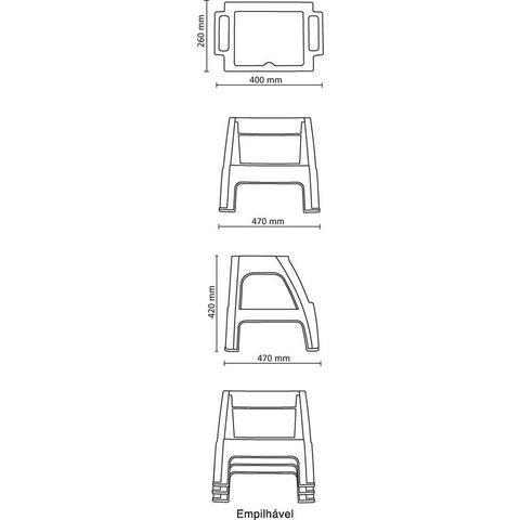 Imagem de Banqueta plastica monobloco com escada paiva branca