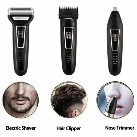 Imagem de Barbeador Elétrico 3 em 1 Shaver duplo maquina cortar cabelo aparador pelos Com escova de dente