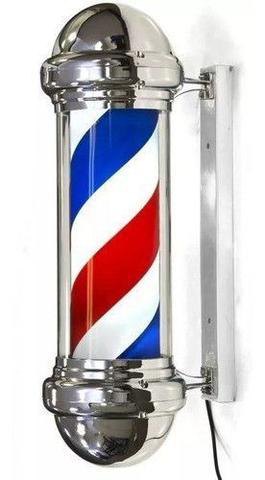Imagem de Barber Pole 70cm Poste Barbearia Barbeiro Inox Rotativo Luz Dompel