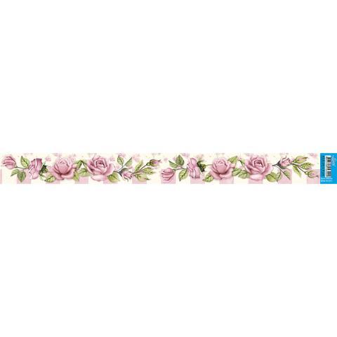 Imagem de Barra Adesiva para Decoupage Litoarte 43,6 x 4 cm - Modelo BDA-IV-071 Rosas Shabby Chic