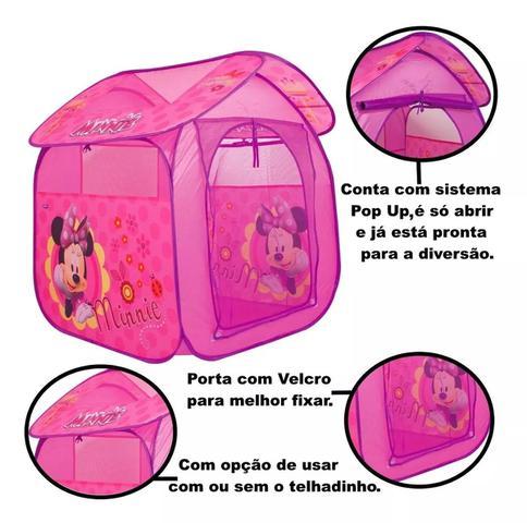 Imagem de Barraca Com Bolinhas Infantil Toca Toquinha Minnie Rosa Casa Cabana Casinha Menina Dobrável