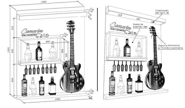 Imagem de Barzinho De Parede Com Nicho e Fundo Espelhado , porta taça e Suporte para Guitarra - Bar26