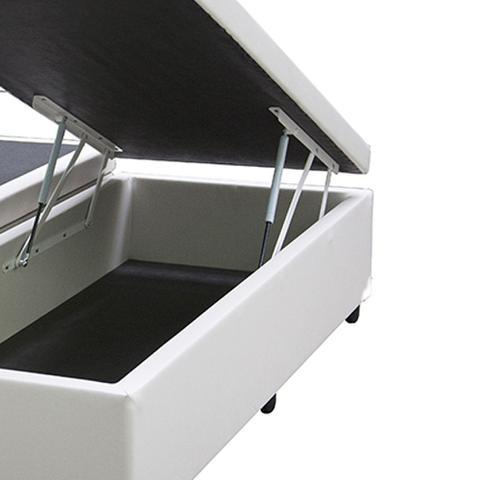 Imagem de Base Box Baú Blindado Queen Bipartido AColchoes Sintético Branco 49x158x198
