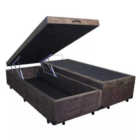 Imagem de Base Box Baú Blindado Queen Bipartido AColchoes Suede Marrom 49x158x198