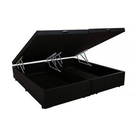 Imagem de Base Box Baú Blindado Queen Bipartido AColchoes Suede Preto 41x158x198