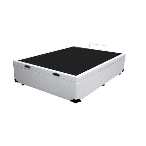 Imagem de Base Box Baú Casal Belos Sonhos Sintético Branco 41x138x188