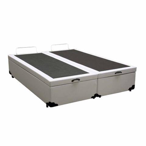 Imagem de Base Box Baú Casal Bipartido Belos Sonhos Sintético Branco 41x138x188