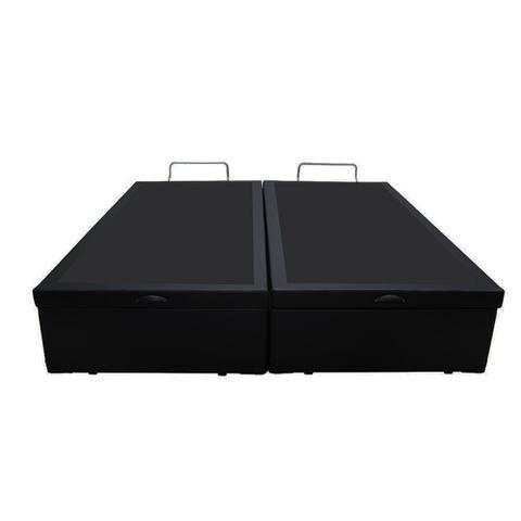 Imagem de Base Box Baú King Bipartido AColchões Sintético Preto 41x193x203