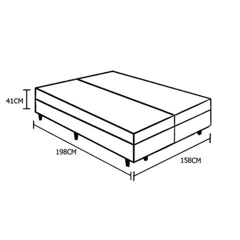 Imagem de Base Box Baú Queen Bipartido AColchões Sintético Branco 41x158x198