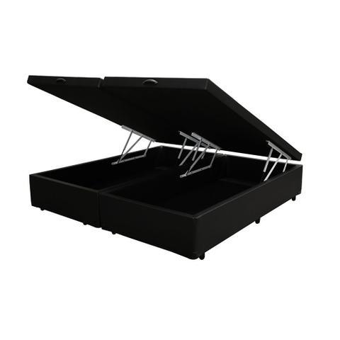Imagem de Base Box Baú Queen Bipartido AColchões Sintético Preto 41x158x198