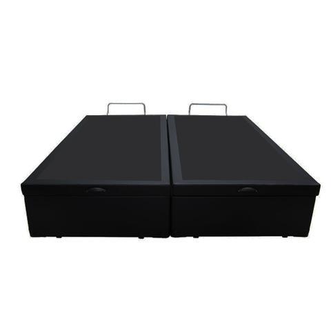 Imagem de Base Box Baú Queen Bipartido AColchões Sintético Preto 49x158x198