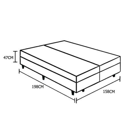 Imagem de Base Box Baú Queen Bipartido Santo Box Sintético Branco 47x158x198