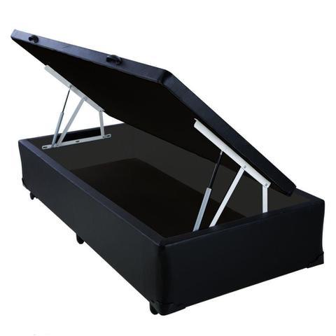 Imagem de Base Box Baú Solteiro AColchões Sintético Preto 49x88x188