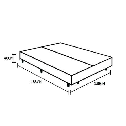 Imagem de Base Box Casal Bipartido Belos Sonhos Sintético Branco 40x138x188