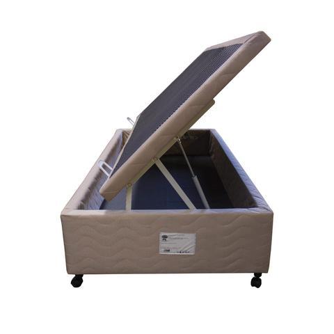 Imagem de Base Box Solteiro com Baú 88cmx188cmx47cm Sued Quality-Flex Bege