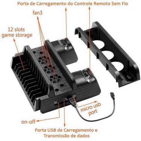 Imagem de Base Multifuncional com Cooler e Carregador de Controle p/ PS4/Slim/Pro TP4-882 - Dobe