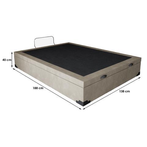 Imagem de Base para Cama Box Casal Premium com Baú (45x138x188) Suede Bege