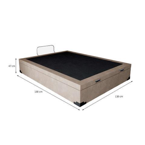 Imagem de Base para Cama Box Casal Premium com Baú (45x138x188) Suede Pena Bege