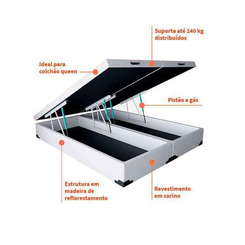 Imagem de Base para Cama Box Queen Premium com Baú (45x158x198) Corino Branca