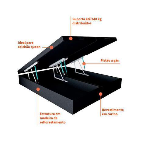 Imagem de Base para Cama Box Queen Premium com Baú Corino (45x158x198) Preta