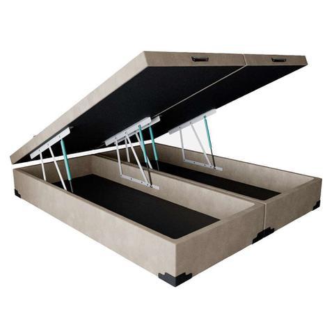 Imagem de Base para Cama Box Queen Premium com Baú Suede Pena (45x158x198) Bege