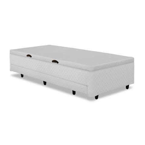 Imagem de Base para Cama Box Solteiro 3 em 1 com Baú e Cama Auxiliar Branca 88 cm
