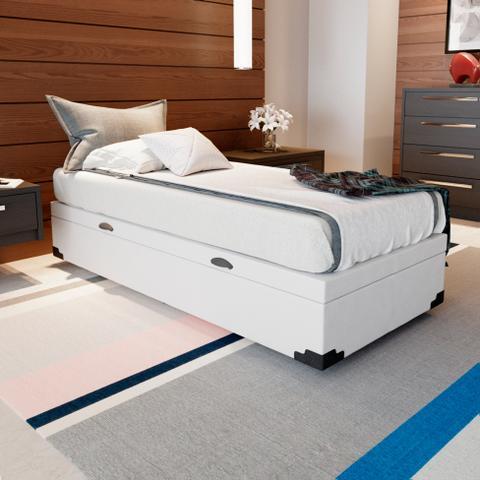 Imagem de Base para Cama Box Solteiro Premium com Baú (47x88x188) Branca