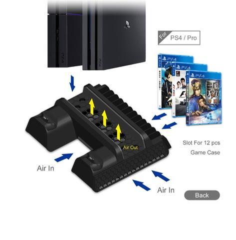 Imagem de Base Vertical Com Cooler Para PlayStation 4 PS4 Slim Pro