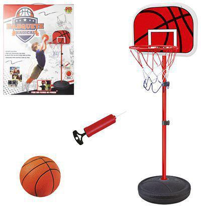 Imagem de Basquete com tabela bola e bomba e pedestal com altura flexível 105-139 cm