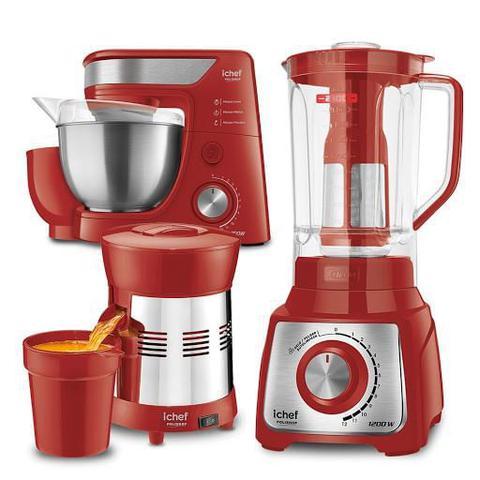 Imagem de Batedeira Planetária + Liquidificador + Extrator de Sucos Turbo Premium Inox Red Ichef Polishop e GANHE R129 de Desconto