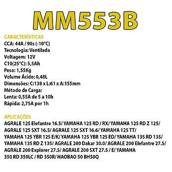 Imagem de Bateria Convencional Magneti Marelli YAMAHA 125 YBR 125 E/K MM553B Cód:Yuasa yn5.5l-b