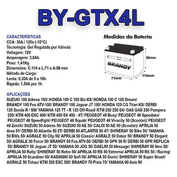 Imagem de Bateria Gel Brandy GTX4LHONDA 125 CG Titan KS  Cód :Yuasa YTX4L-BS