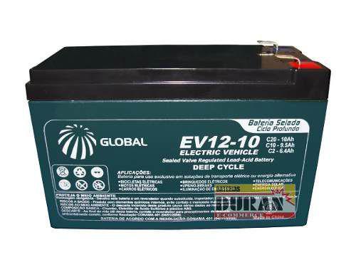 Imagem de Bateria Global 10ah 12v Gel VRLA AGM Ciclo Profundo Bike Elétrica 6dzm10 Motos Elétrica Carros Elétricos