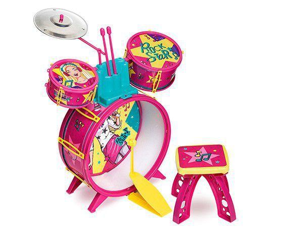 Imagem de Bateria Infantil Barbie Fabulosa Com Banco - Fun F00047