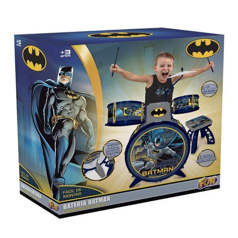 Imagem de Bateria Infantil Batman Cavaleiro Das Trevas Com Banquinho 8080-4 Fun