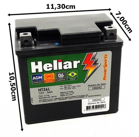 Imagem de Bateria moto heliar 5ah 12v htz6L Honda Cbr1000 Rr
