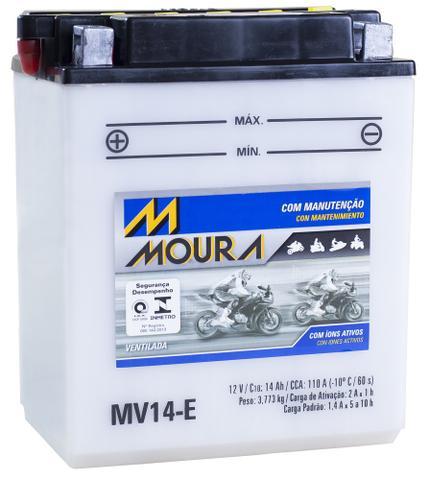 Imagem de Bateria Moto Mv14-e Moura 14ah Honda ATC200 Big Red CX 650C Custom TRX 200 Fourtrax