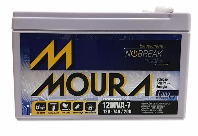 Imagem de Bateria Moura estacionária para No-break e alarme 12v 7ah