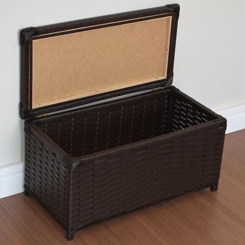 Imagem de Baú Brinquedo Cesto Roupa Fibra Sintética 60x30x30 Argila - Marrom Escuro