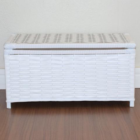 Imagem de Baú Brinquedo Cesto Roupa Fibra Sintética 60x30x30 Branco