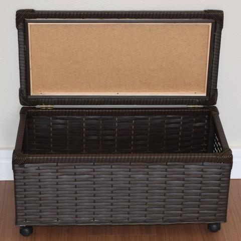 Imagem de Baú Brinquedo Cesto Roupa Fibra Sintética C/rodinha 60x30x30 Argila Marrom Escuro