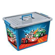 Imagem de Bau container caixa organizador infantil de brinquedos, roupas e utilidades grande 30 lts carros com
