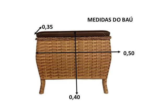 Imagem de Baú Fibra Sintética Brinquedos Cesto Roupas kit com 2 Peças
