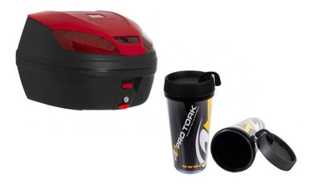 Imagem de Baú Para Moto 30 Litros Vermelho Pro Tork 1 Capacete + Copo